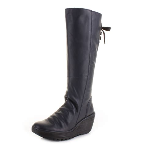 navy boots womens fly yust navy wedge heel leather lace knee