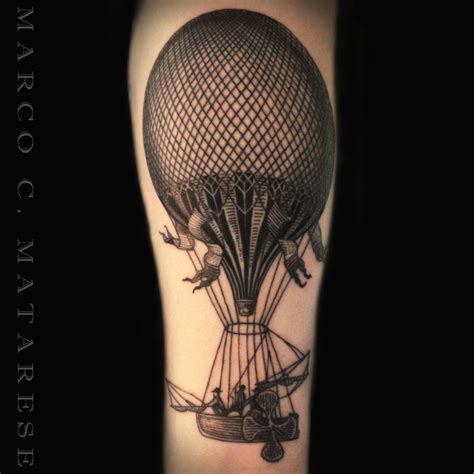 etching tattoo air balloon etching marco c matarese milan