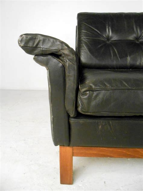 danish style leather sofa vintage danish style black leather sofa for sale at 1stdibs