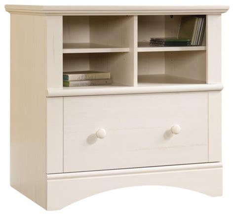 White Wood File Cabinet Sauder Harbor View 1 Drawer Lateral Wood File Cabinet In Antique White Transitional Filing
