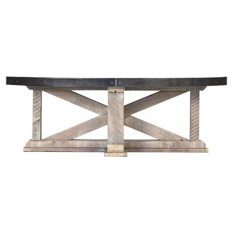 White Washed Wood Coffee Table Albertine Zinc Top Solid White Washed Wood Oval Coffee Table Kathy Kuo Home