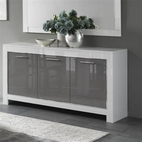 Grey Dining Room Sideboard Lorenz Sideboard In White And Grey High Gloss With 3 Doors