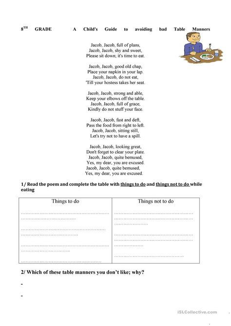 Table Manners Worksheet by Worksheets For Teaching Manners Worksheet Exle