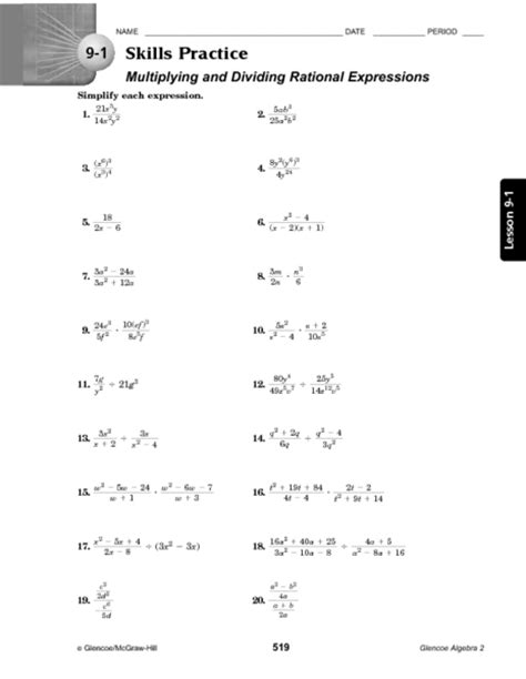 Rational Expressions Worksheet Answers by Rational Expressions Worksheet