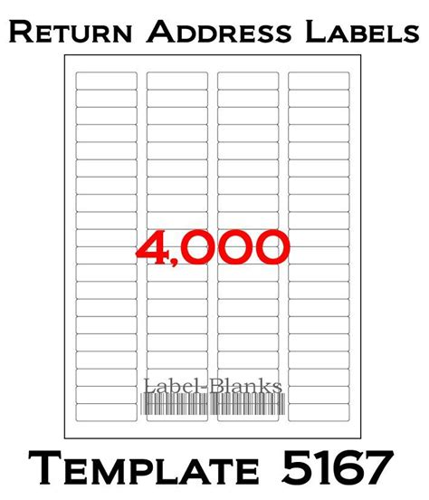 4000 Laser Ink Jet Labels Return Address Fits Size 5167 5267 5967 50 Sheets Ebay Address Label Template Word