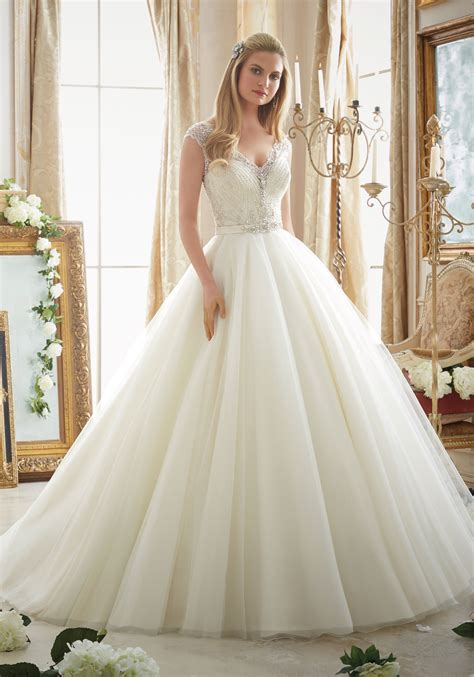 Wedding Gowns Dresses by Intricately Beaded Embroidery On Tulle Gown Style