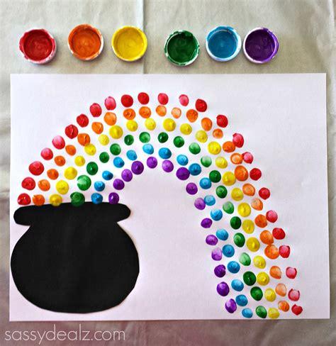 rainbow craft fingerprint rainbow pot of gold craft for st s