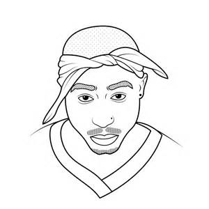 2pac Outline by Portraits Mbroidered