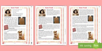 Anne Frank Biography Key Stage 2 | ks2 history primary resources ks2 history vikings page 1