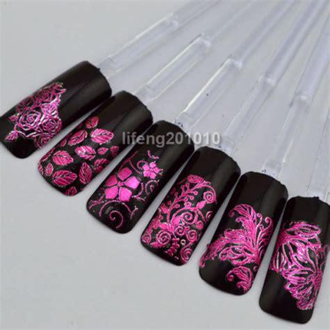 August Sale Stiker 3d Flower 108 Pcs wingood88 nail store for fingernails 108 pcs high quality 3d purple flower nail