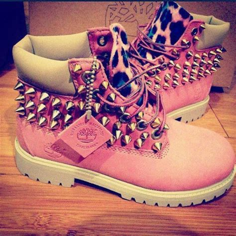 different color timberlands shoes pink cheetah studded timberlands custom