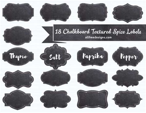 Spice Labels 18 Free Chalkboard Textured Designs To Download Spice Jar Label Template
