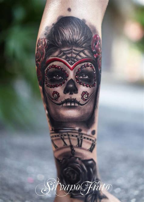 sugar skull sleeve tattoo designs fantastic sugar skull with clock cover up best