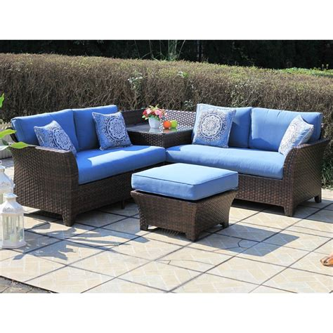 Sunmate Casual Santorini 4 Pc Wicker Sectional Outdoor Casual Patio Furniture Sets