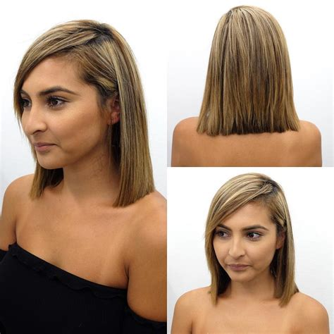 medium length hairstyles front and back with bangs women s blunt shoulder length bob with side swept bangs