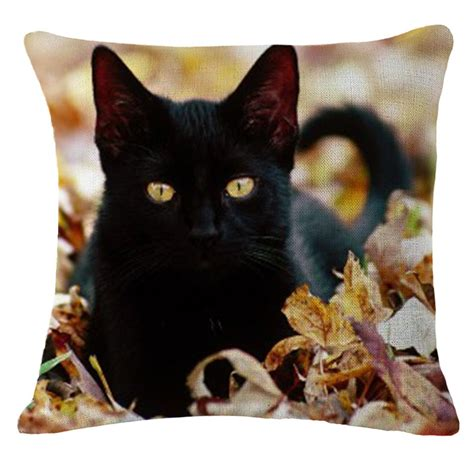 black cat home decor throw pillow sofa waist