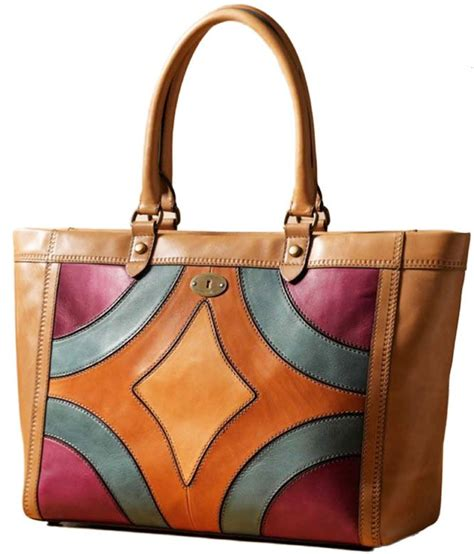 Fossil Patchwork - fossil vintage revival heirloom leather patchwork tote