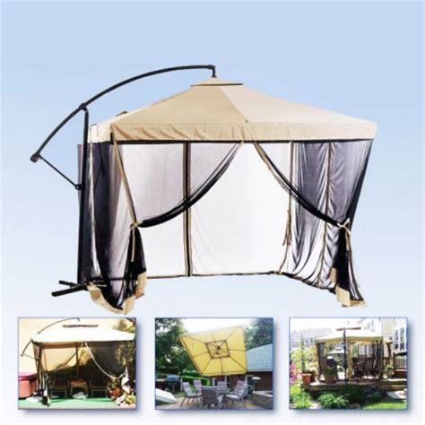 Apontus Offset Tan Patio Umbrella Instant Gazebo With Mesh Patio Umbrella With Netting