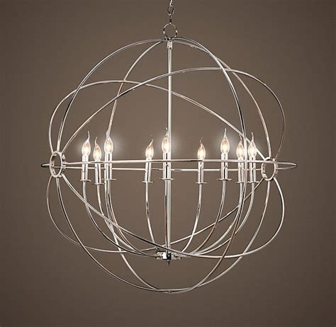large orb chandelier alternate entryway light we can discuss scale size foucault s iron orb chandelier