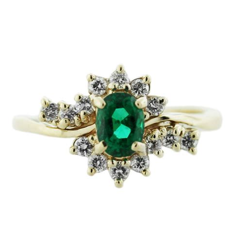 14k yellow gold oval emerald ring boca raton