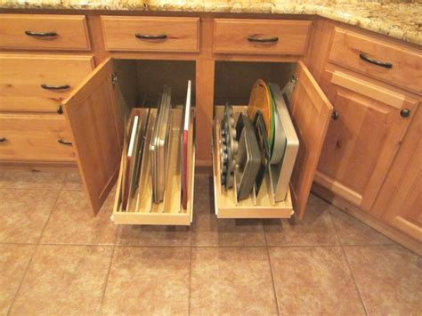 kitchen cabinet drawer inserts pan lid cooking sheet organizer pull out shelves by