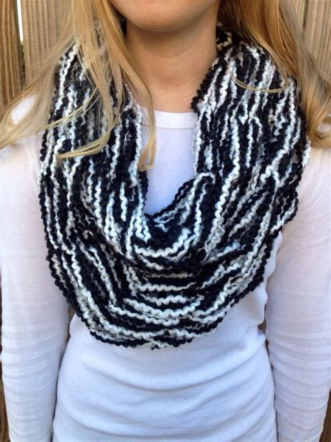 black and white arm knit infinity scarf arm knit scarf
