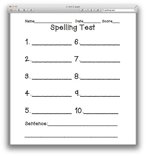 search results for spelling test template 10 words