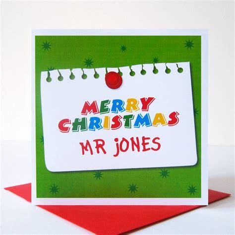 printable christmas cards teacher personalised teacher christmas card by mrs l cards