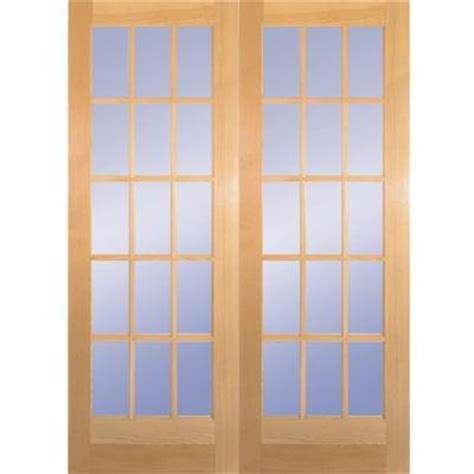 prehung interior french doors home depot builder s choice 60 in x 80 in 15 lite clear wood pine