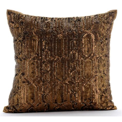 Gold Pillows Decorative by Gold Decorative Pillow Cover 16x16 Silk Pillows
