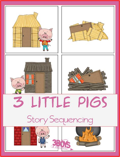 three stories three little pigs sequencing printable story cards 3