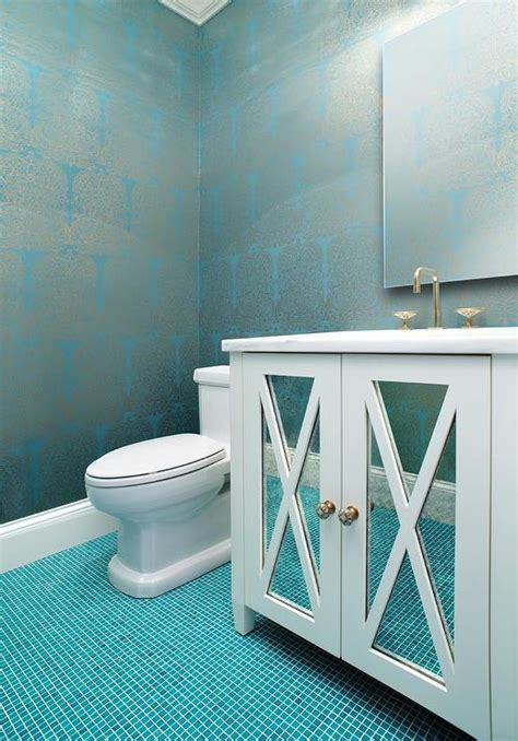 turquoise bathroom floor tiles silver and turquoise damask wallpaper with ocean blue tile