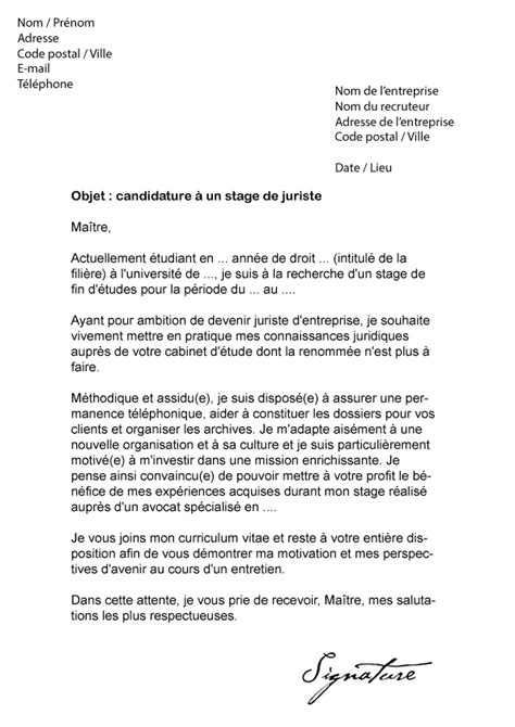 Modèles Lettre De Motivation Juriste lettre de motivation stage juriste mod 232 le de lettre