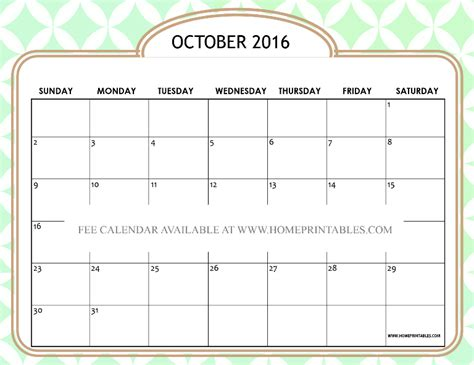 printable calendar october 2016 free printable october 2016 calendar cute designs home