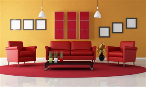 red couches living room red yellow orange themes