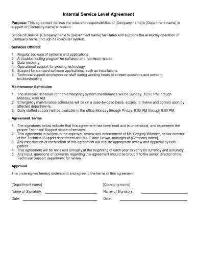 shared services service level agreement template gallery