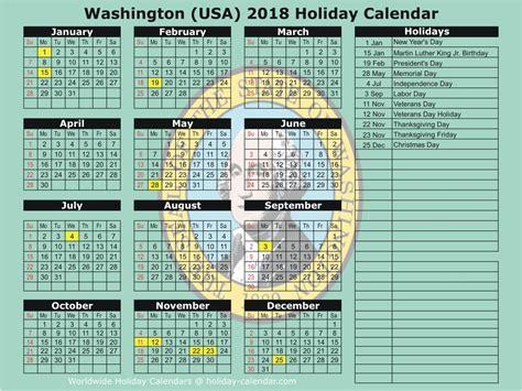 2018 Calendar Wa Washington Usa 2018 2019 Calendar