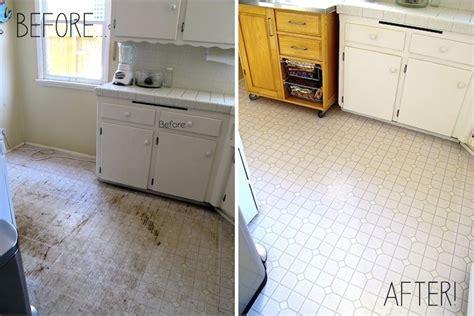 Kitchen linoleum floor before & after Clorox, water and
