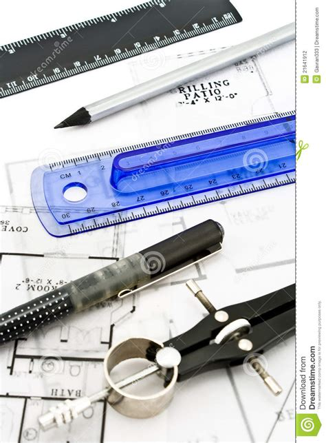 house drawing tool house plan blueprints with drawing tools stock photography