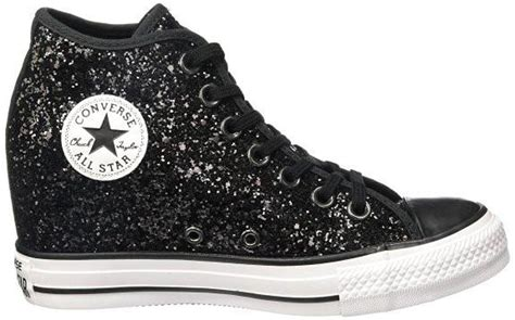 wedding sparkly black glitter converse all wedge