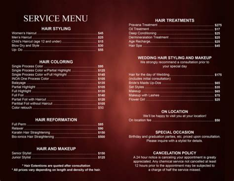 25 Price List Templates Doc Pdf Excel Psd Free Premium Templates Hair Salon Menu Templates
