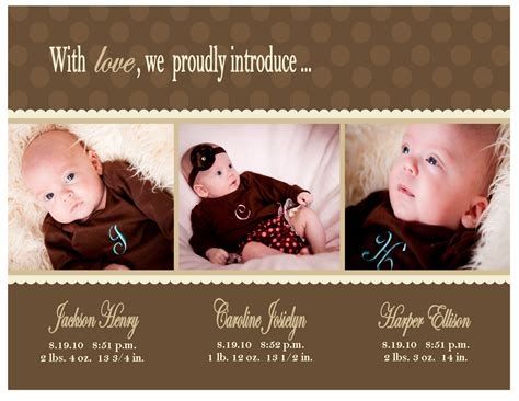 baby announcement with baby announcements blessed by three sweet paperie