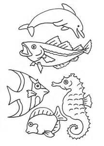 Meerestiere Fische Delfin Seepferdchen Malvorlage Zum
