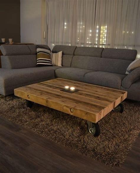 oude steigerhouten salontafel salontafel van balken op zijn kant oud steigerhout