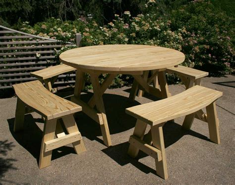 round bench small round folding picnic table with detached benches in