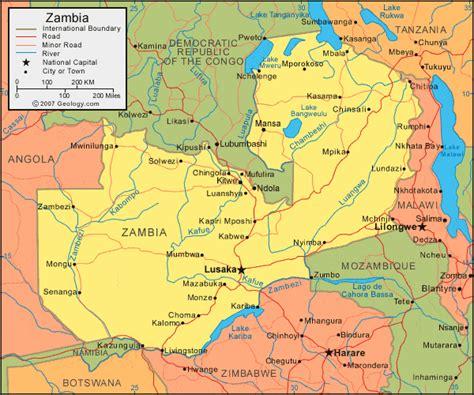zambia map  satellite image