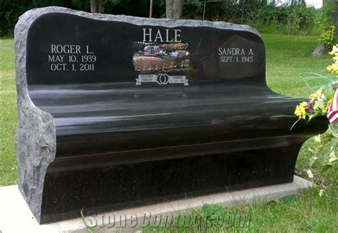 black granite bench for cemetery etched granite monument memorial bench black granite