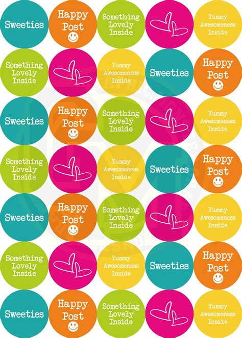 Decorative Wall Stickers Uk happy post stickers bright summer colours food sweet