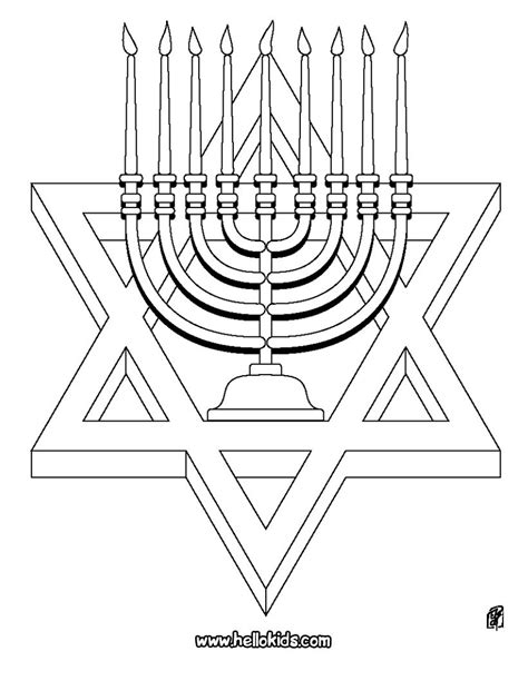 coloring page of star of david hanukiah and star of david coloring pages hellokids com