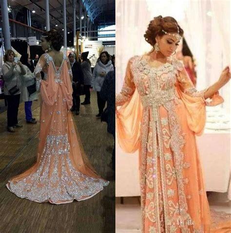 Elegant Kaftan/Abaya/Arabic Evening Dresses 2016 Beaded Sequins Appliques Chiffon Long Formal